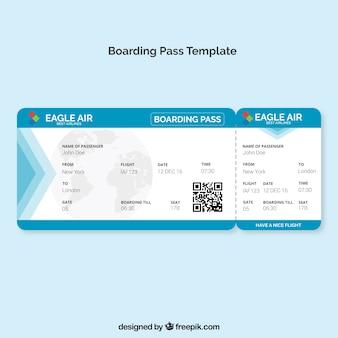 Boarding pass-vorlage mit blauen details