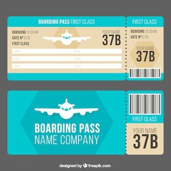 Boarding pass-vorlage mit dekorativen flugzeug