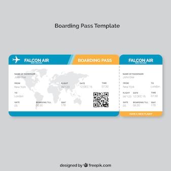 Boarding pass-vorlage mit karte und farbdetails