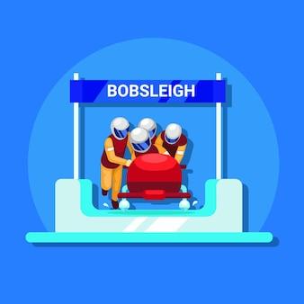 Bob-wintersport flacher illustrationsvektor