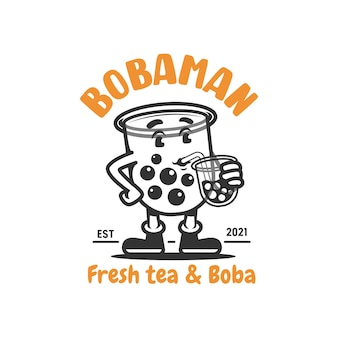 Boba-mädchen-maskottchen-logo-mädchen, das boba-vektorillustration trinkt