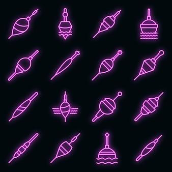 Bobber-symbole gesetzt. umrisse von bobber-vektorsymbolen neonfarbe auf schwarz