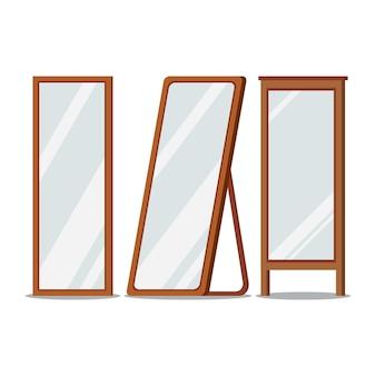 Boden holzrahmen spiegel rechteckige formen gesetzt.