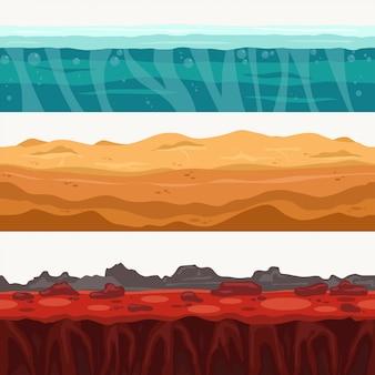 Boden nahtlose schichtumgebung mit felsenstein. wasseroberfläche, vulkanische lava, wüstensand.