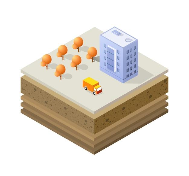 Bodenschichten querschnitt geologische und unterirdische bodenschichten unter der isometrischen scheibe der ausgedehnten organischen sand- und tonschichten der städtischen umwelt