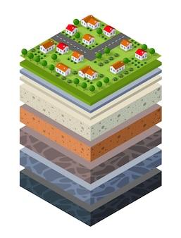 Bodenschichten querschnitt geologisches grünes gras und unterirdische bodenschichten unter der naturlandschaft isometrischer schnitt der ausgedehnten organischen sand- und tonschichten der städtischen umgebung des landes