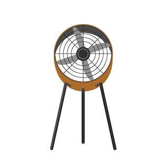 Bodenventilator realistische abbildung. elektrischer ventilator, gebläse mit drehendem propeller. sommer-heißluftkühlungswerkzeug isoliert auf weiß
