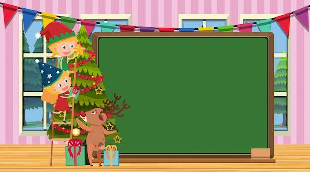 Boder vorlage mit mädchen, die weihnachtsbaum verzieren