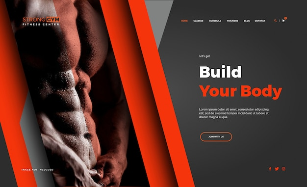 Body build fitness landing page vorlagen
