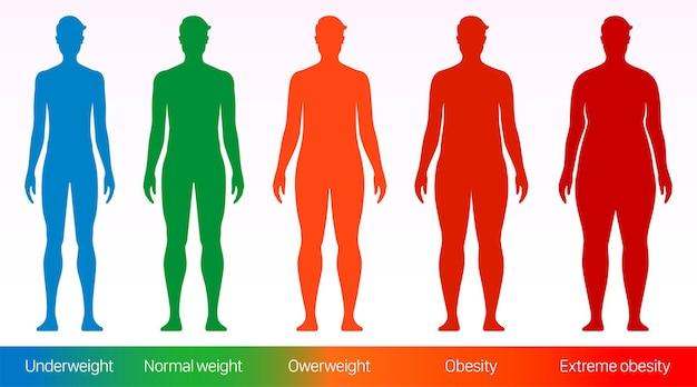 Body-mass-index-vektorplakat erwachsene männer mit unterschiedlichen körpergewichtsgrößen