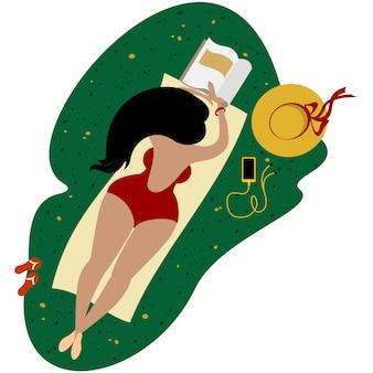 Body-plus plus size süßes mädchen in einem roten badeanzug.