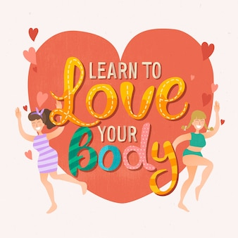 Body positive schriftzug mit herz