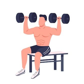 Bodybuilder heben hanteln flache farbe gesichtslosen charakter