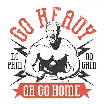 Bodybuilder in heldenhaltung