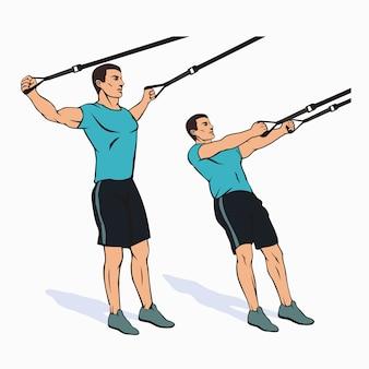Bodybuilder machen übungen mit dem trx suspension training system