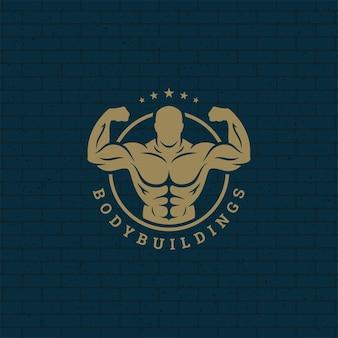 Bodybuilder mann logo oder abzeichen illustration