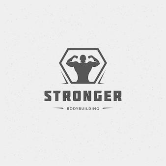 Bodybuilder-mann-logo oder abzeichen-vektor-illustration männliches bodybuilding-symbol silhouette