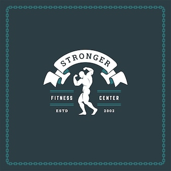 Bodybuilder mann silhouette logo