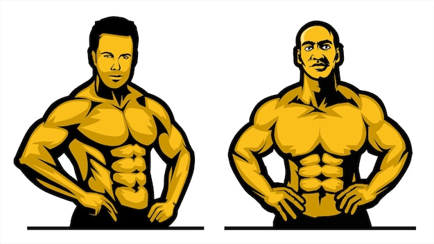 Bodybuilder mit pose, fitnessstudio-logo, muskelfitness, training, flacher illustrationsvektor