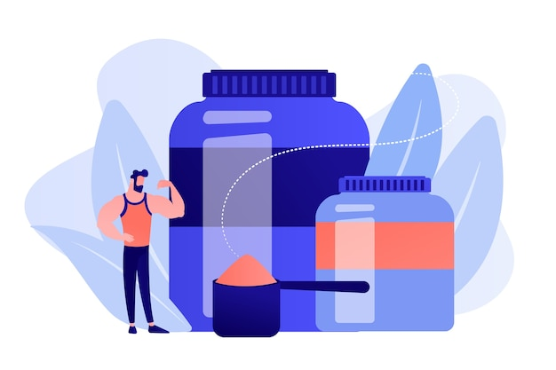 Bodybuilder mit sporternährung kunststoffbehälter mit proteinpulver. sporternährung, sportergänzungsmittel, ergogenes hilfsmittelgebrauchskonzept. isolierte illustration des rosa korallenblauvektors