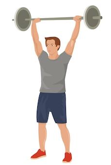 Bodybuilder sportler macht gewichtheben sport