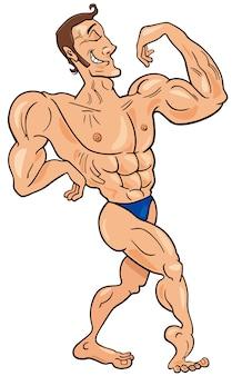 Bodybuilder zeichentrickfigur