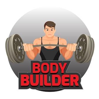 Bodybuilderplakat mit starkem mann, der schwere hantelvektorillustration lokalisiert auf weiß hält. logo für bodybuilding-studio oder sportstudio
