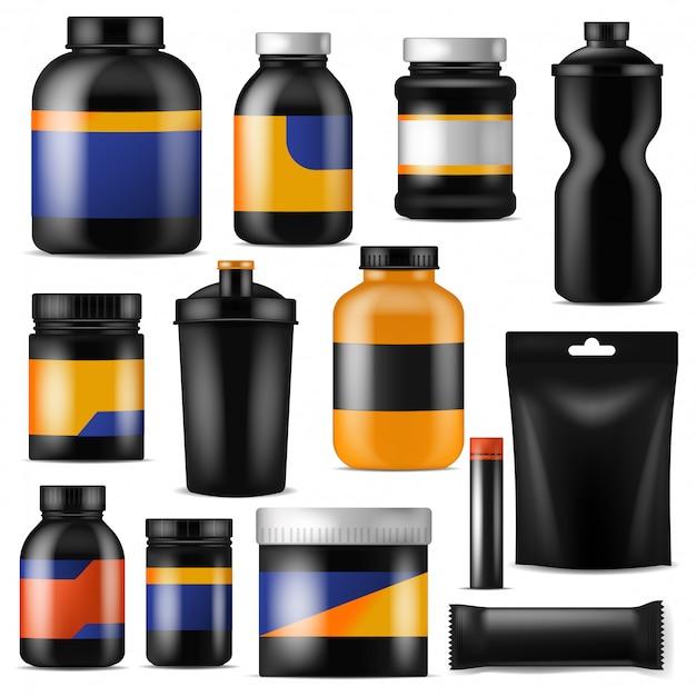 Bodybuilding-ernährungsvektor-branding-fitness-sport-nahrungsergänzungsmittel mit protein in der markenflasche für bodybuilder-illustrationssatz isoliert auf weiß