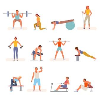 Bodybuilding fitness in der turnhalle set illustration