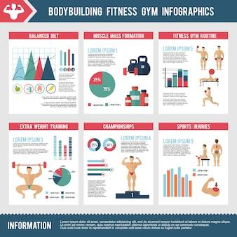 Bodybuilding fitness-studio infografiken