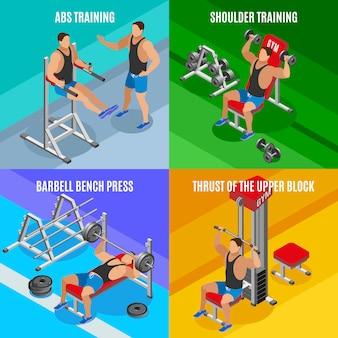 Bodybuilding-isometrisches konzept des entwurfes