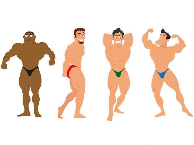 Bodybuilding. muskelmann lokalisiert auf weißem hintergrund
