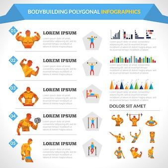 Bodybuilding polygonale infografiken