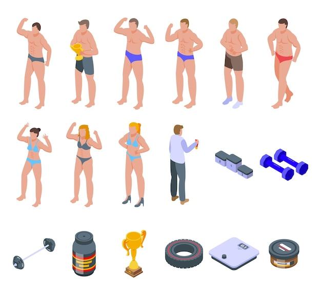 Bodybuilding-symbole festgelegt. isometrischer satz von bodybuilding-symbolen für web lokalisiert auf weißem hintergrund