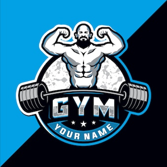Bodybuilding und fitnessstudio esport logo design