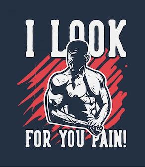 Bodybuildingillustration mit motivzitat