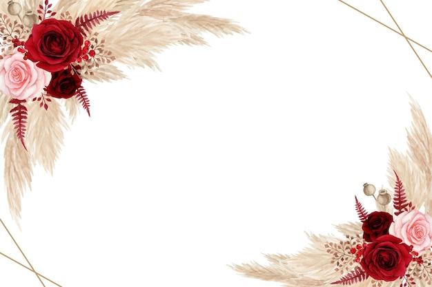 Böhmische blumen mit aquarellrosen und pampasgras