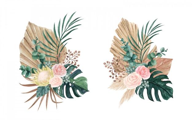 Böhmische blumenkomposition des aquarells mit getrockneten palmblättern und -blumen