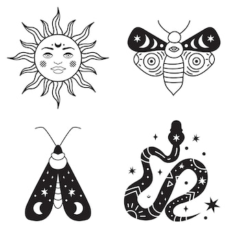 Böhmische illustration, himmlisches vintage-design, sonne mit gesicht, stilisierte zeichnung, tarotkarte. mystisches element für design, logo, tätowierung. vektor-illustration isoliert auf weißem hintergrund