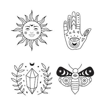 Böhmische illustration, himmlisches vintage-design, stilisierte zeichnung, tarotkarte. mystisches element für design, magische sammlung. vektor-illustration isoliert auf weißem hintergrund