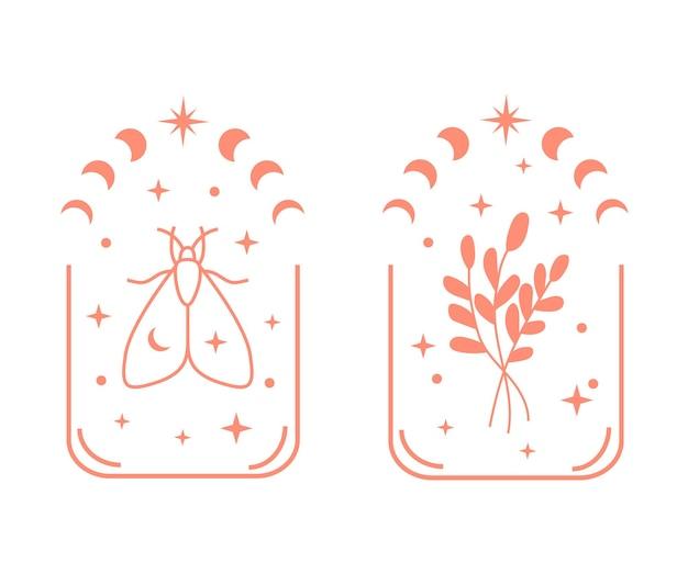 Böhmische illustration mit floraler mondphase und schmetterling