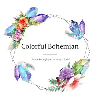 Böhmischer kranzentwurf mit blume, kristallaquarellillustration,