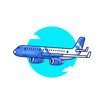 Boeing flugzeug cartoon icon illustration. lufttransport-symbol-konzept isolierte prämie. flacher cartoon-stil