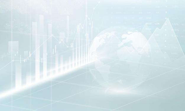 Börse, wirtschaftsdiagramm mit diagrammen, geschäfts- und finanzkonzepten und berichten, abstrakter technologiekommunikationskonzeptvektorhintergrund