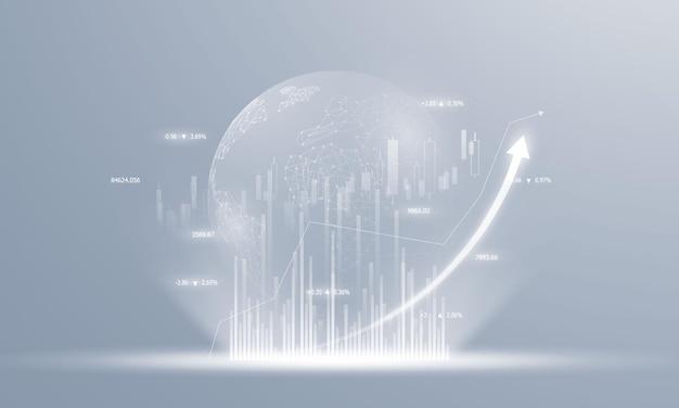 Börse, wirtschaftsdiagramm mit diagrammen, geschäfts- und finanzkonzepten und -berichten, hintergrund des abstrakten technologiekommunikationskonzepts