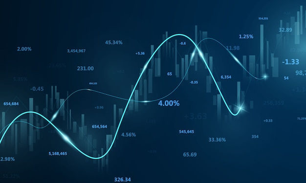 Börse, wirtschaftsgraph mit diagrammen, geschäfts- und finanzkonzepten und -berichten, abstrakter blauer technologiehintergrund