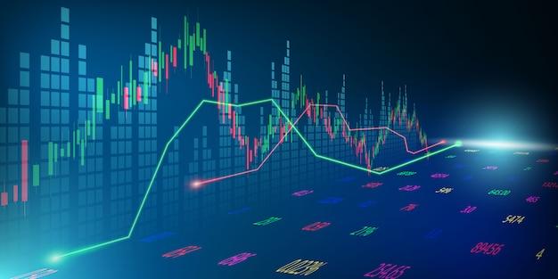 Börse, wirtschaftsgraph mit diagrammen, geschäfts- und finanzkonzepten und -berichten, abstrakter technologiekommunikationskonzeptvektorhintergrund