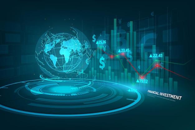 Börsen- oder forex-handelsdiagramm in grafischem konzept für finanzinvestitionen geeignet