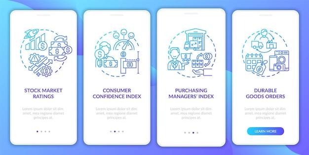 Börsenbewertungen onboarding mobile app seite bildschirm mit konzepten. konjunkturindikatoren exemplarische vorgehensweise 4 schritte. ui-vorlage mit rgb-farbabbildungen