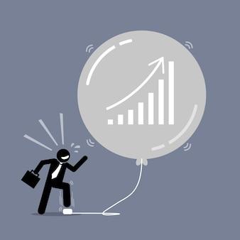 Börsenblase. das kunstwerk zeigt einen glücklichen geschäftsmann, der immer wieder einen luftblasenballon aufbläst, um ihn immer größer zu machen.